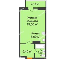 Студия 34,43 м² в ЖК Сокол на Оганова, дом Литер 6 - планировка