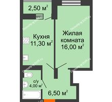 1 комнатная квартира 40,3 м² в ЖК На Тимошенко, дом № 1 - планировка