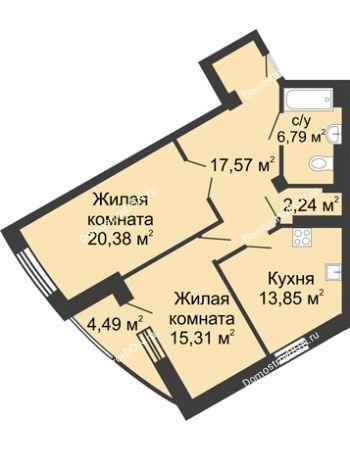 2 комнатная квартира 80,63 м² - ЖК Юбилейный