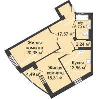 2 комнатная квартира 80,63 м², ЖК Юбилейный - планировка