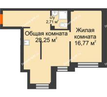2 комнатная квартира 47,7 м² в Микрорайон Новая жизнь, дом позиция 19 - планировка