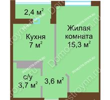 1 комнатная квартира 30,8 м² в ЖК ЮГ, дом № 15