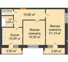 2 комнатная квартира 67,52 м² в ЖК Браер Парк Центр, дом № 5 - планировка