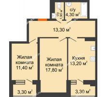 2 комнатная квартира 68,5 м² в ЖК Вересаево, дом Литер 5/1