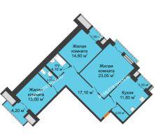 3 комнатная квартира 91,15 м², Жилой дом: г. Дзержинск, ул. Кирова, д.12 - планировка