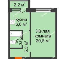 1 комнатная квартира 37,2 м² - ЖК Дом на Нижегородской