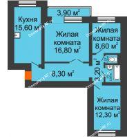3 комнатная квартира 72 м², Жилой дом пр. Ленинградский, 26 г. Железногорск - планировка