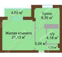 1 комнатная квартира 43,78 м² в ЖК На Победной, дом № 12