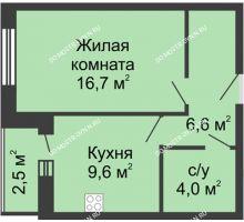 1 комнатная квартира 39,4 м² - Жилой дом: ул. Страж Революции