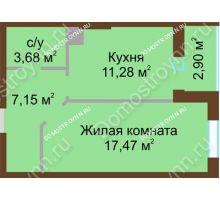 1 комнатная квартира 42,48 м² в ЖК Красная поляна, дом № 8