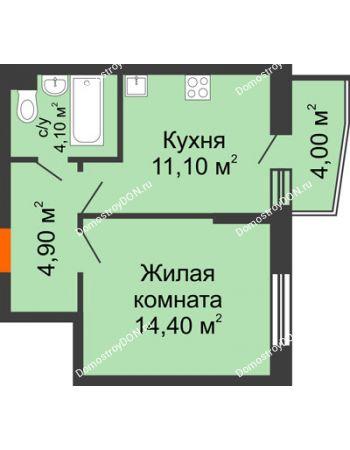 1 комнатная квартира 36,5 м² в ЖК Династия, дом Литер 2