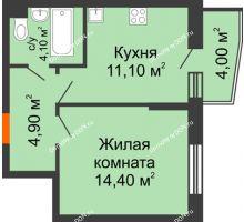 1 комнатная квартира 36,5 м² в ЖК Династия, дом Литер 2 - планировка