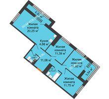 3 комнатная квартира 80,44 м² в ЖК Дом на Набережной, дом № 1 - планировка
