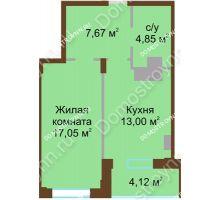 1 комнатная квартира 46,69 м² в ЖК Солнечный город, дом на участке № 208