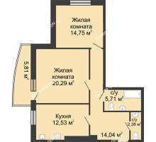 2 комнатная квартира 74,7 м² в ЖК Тихий Дон, дом № 1 - планировка