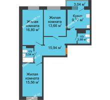 3 комнатная квартира 79,47 м² в ЖК Волжские паруса, дом Б-2-1 - планировка