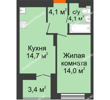 1 комнатная квартира 38,6 м² в ЖК Заречье, дом № 1, секция 1 - планировка