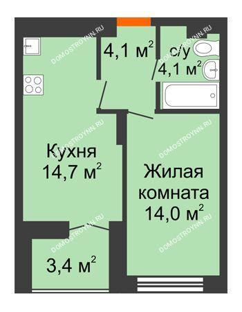 1 комнатная квартира 38,6 м² в ЖК Заречье, дом №1, секция 2