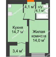 1 комнатная квартира 38,6 м² в ЖК Заречье, дом №1, секция 2 - планировка