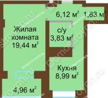 1 комнатная квартира 45,18 м² - ЖК Подкова Приокская