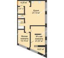 1 комнатная квартира 42,82 м² в ЖК Речной порт, дом № 6 - планировка
