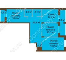 3 комнатная квартира 101,1 м² в ЖК Монолит, дом № 89, корп. 1, 2 - планировка