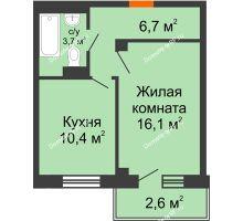 1 комнатная квартира 38,1 м², ЖД Подзолкова - планировка