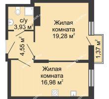 2 комнатная квартира 46,11 м², ЖК Соборный - планировка
