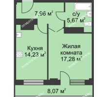 1 комнатная квартира 49,17 м² - ЖК На Ошарской