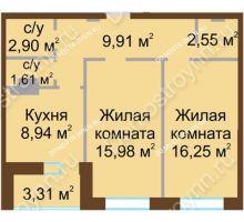 2 комнатная квартира 59,82 м² - Жилой дом Каскад на Даргомыжского
