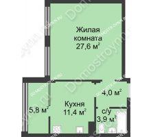 1 комнатная квартира 52,7 м² в ЖК Славянский квартал, дом № 5а, 7 - планировка