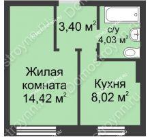 1 комнатная квартира 29,87 м² в ЖК Окский берег, дом № 2 - планировка