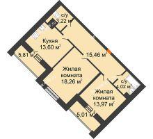 2 комнатная квартира 73,93 м², ЖД Эльбрус - планировка