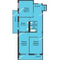 3 комнатная квартира 94,2 м² в  ЖК РИИЖТский Уют, дом Секция 1-2 - планировка