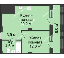 1 комнатная квартира 44,7 м² в ЖК Планетарий, дом № 7 - планировка