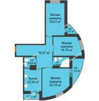 3 комнатная квартира 106,94 м², ЖК Адмиралъ - планировка