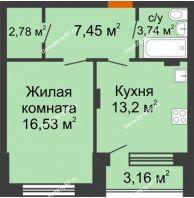 1 комнатная квартира 45,09 м² в ЖК Суворов-Сити, дом 2 очередь секция 1-5 - планировка