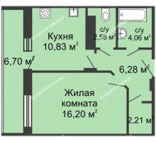 1 комнатная квартира 46,63 м² в ЖК Облака, дом № 1