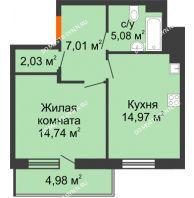 1 комнатная квартира 46,32 м² в ЖК Циолковский, дом № 3 - планировка
