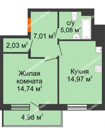 1 комнатная квартира 46,32 м² в ЖК Циолковский, дом № 3