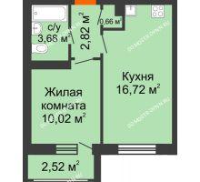 1 комнатная квартира 36,42 м² в ЖК Москва Град, дом 61 - планировка