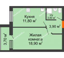1 комнатная квартира 41,8 м² в ЖК Сиреневый квартал, дом Секция 1 - планировка