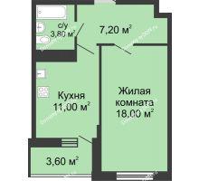 1 комнатная квартира 42,2 м² в ЖК Первый, дом Литер 2 - планировка