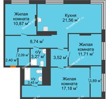 3 комнатная квартира 86,69 м² в ЖК Октябрьский, дом ГП-3 - планировка