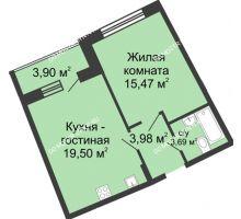1 комнатная квартира 44,59 м² в ЖК Ватсон, дом № 5 - планировка
