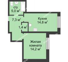 1 комнатная квартира 42,7 м² в ЖК Аквамарин, дом № 6 - планировка