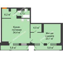 1 комнатная квартира 75,28 м² в ЖК Георгиевский, дом 6 - планировка