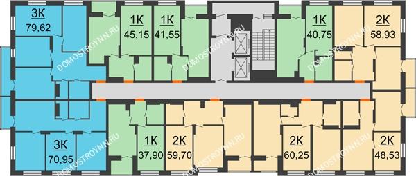 Планировка 7 этажа в доме № 1, секция 1 в ЖК Заречье