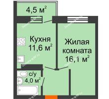 1 комнатная квартира 37,4 м² в ЖК Отражение, дом Литер 2.1 - планировка