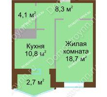 1 комнатная квартира 44,6 м² в ЖК Монолит, дом № 89, корп. 1, 2 - планировка